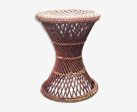 Tabouret tam tam en rotin des années 70 - rattan and wicker - brown ...