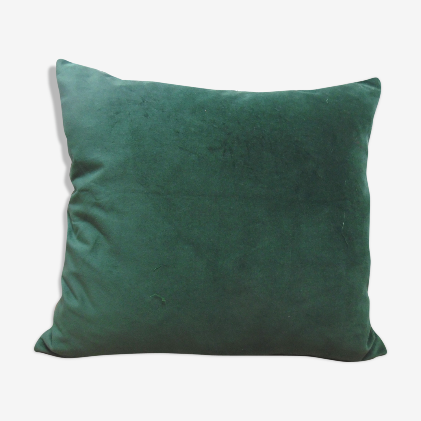 Deep green shaved velvet cushion