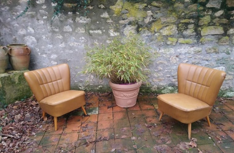 Pair of vintage tobacco cocktail armchairs