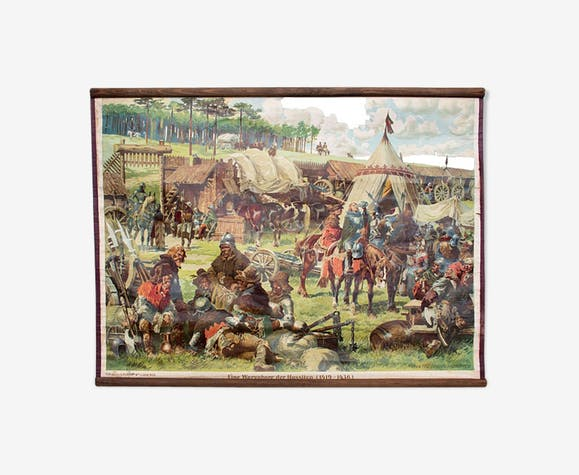 """Poster """"Corral of Hussites"""" 1419-1436 educational grid 1929"""