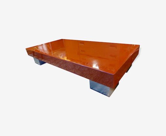 Table Basse En Bois Laqué Orange 4 Pieds Inox Des Années 70 Wood