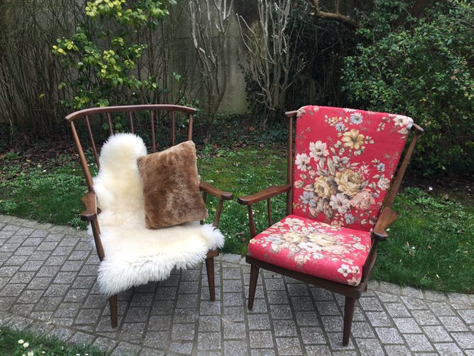 Paire de fauteuils éventail 1960