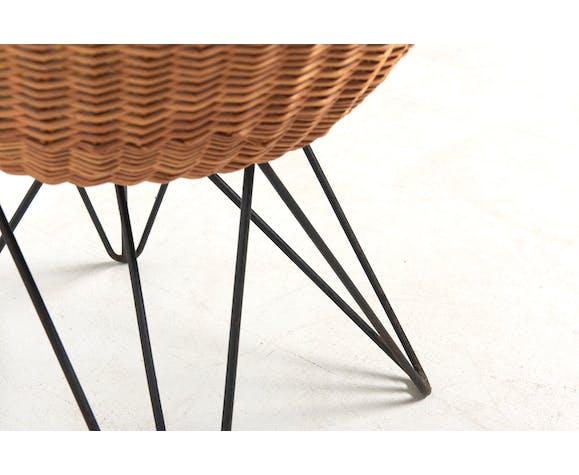 Basket Chair with Metal Legs de Teun Velthuizen pour Urotan, Pays-Bas, années 1950