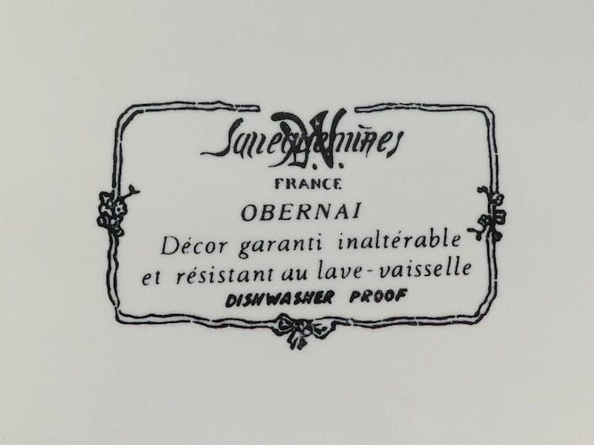 Plat a cake en faience de Sarreguemines obernai signé h.loux