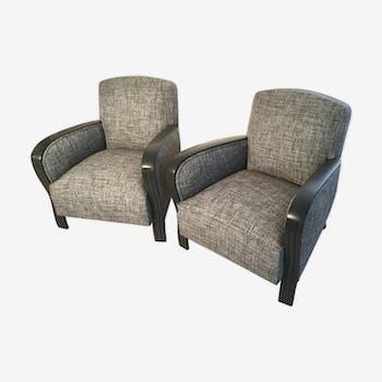 Paire de fauteuil studio 1950 entièrement restaurée tissu Thévenon.