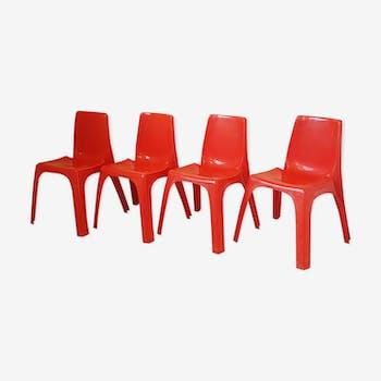Suite de 4 chaises Kartell Castiglioni des années 70