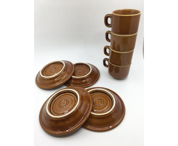 Set of 4 caramel bistro coffee cups