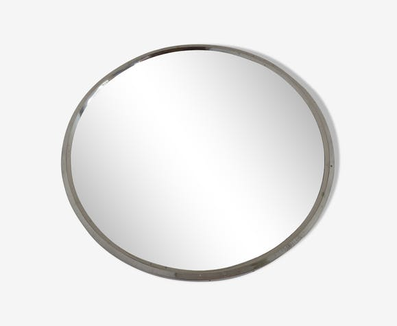Round mirror in chrome metal years 70 39cm