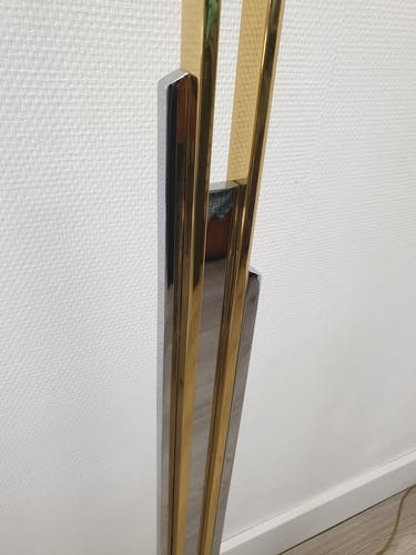 """Lampadaire italien plaqué or et chrome """"Skyscraper"""" avec abat-jour original, années 1970"""