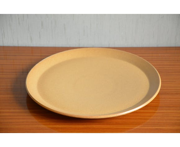 Plat de service plat en grès