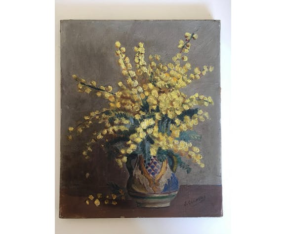 Flowers oil on canvas 50s bouquet of mimosas