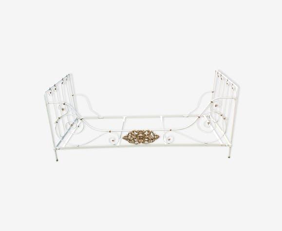 Lit Banquette En Fer Forge Blanc Style Art Deco Fer