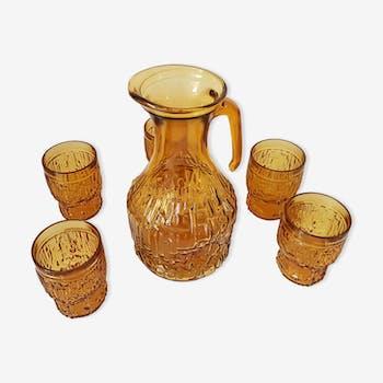 Service à eau  vintage - carafe et verres jaune ambré