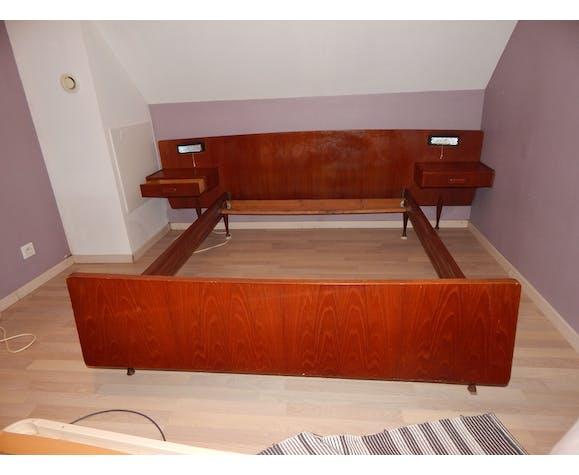 Tête de lit et chevets suspendus, design scandinave des années 50/60
