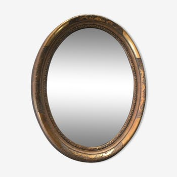 Oval mirror wooden gold 37x47cm