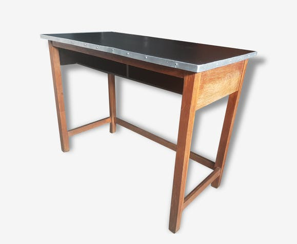 Console ancienne table haute de laborantin comptoir for Table de cuisine ancienne