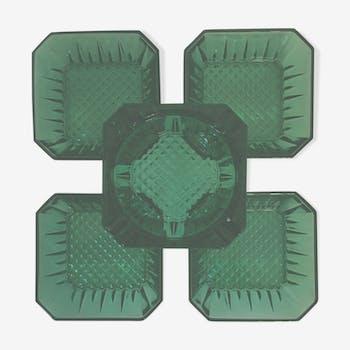 Arcoroc 4 ramequins & cendrier vintage verre taille diamant vert émeraude