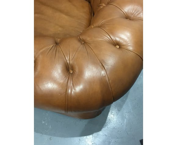 Chesterfield armchair in cognac leather