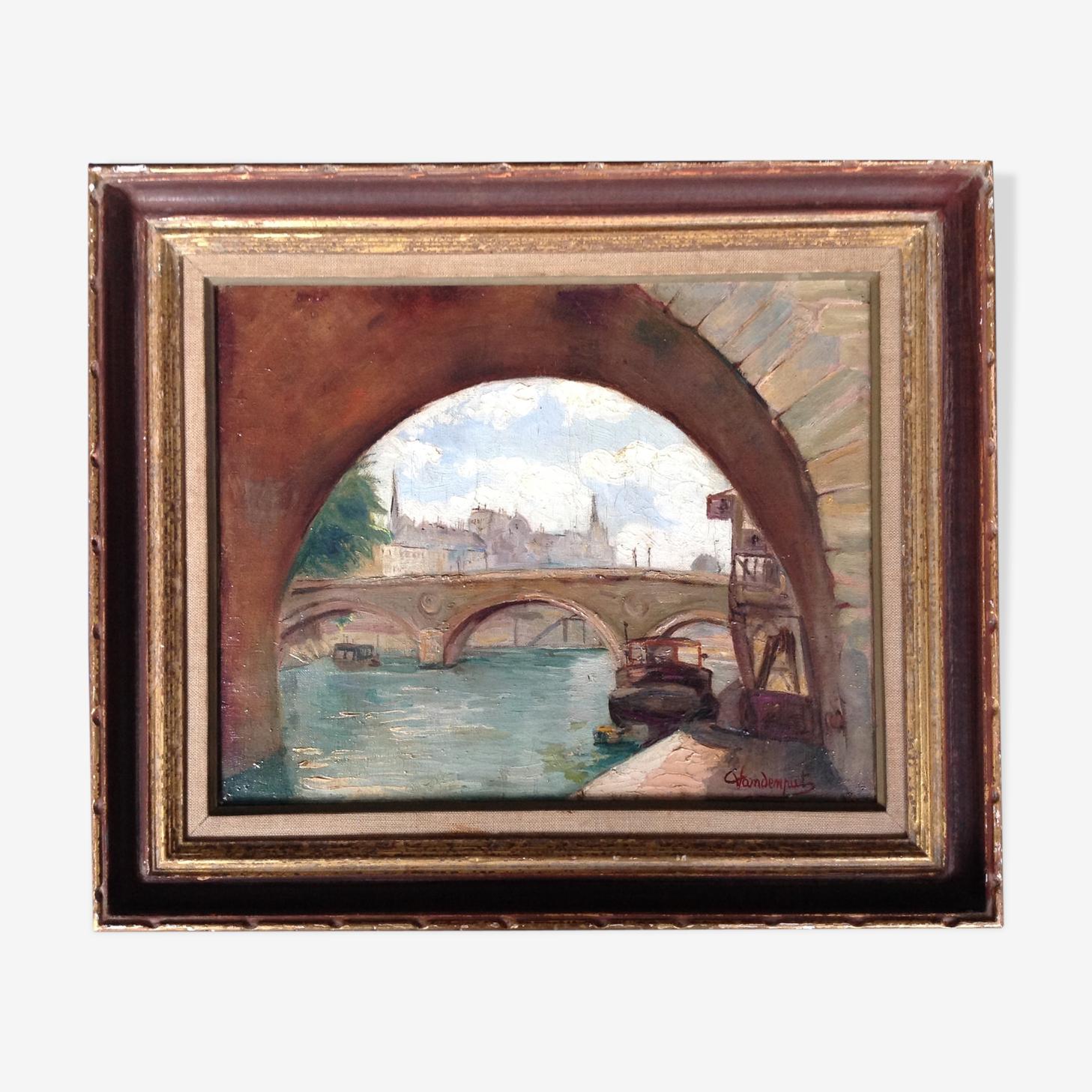 """Huile sur toile signée vandenput datée 1943 """" le pont marie, Paris"""""""