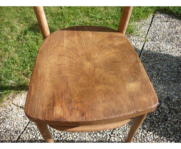 Ensemble de 2 chaises bistrot anciennes et sérigraphiées