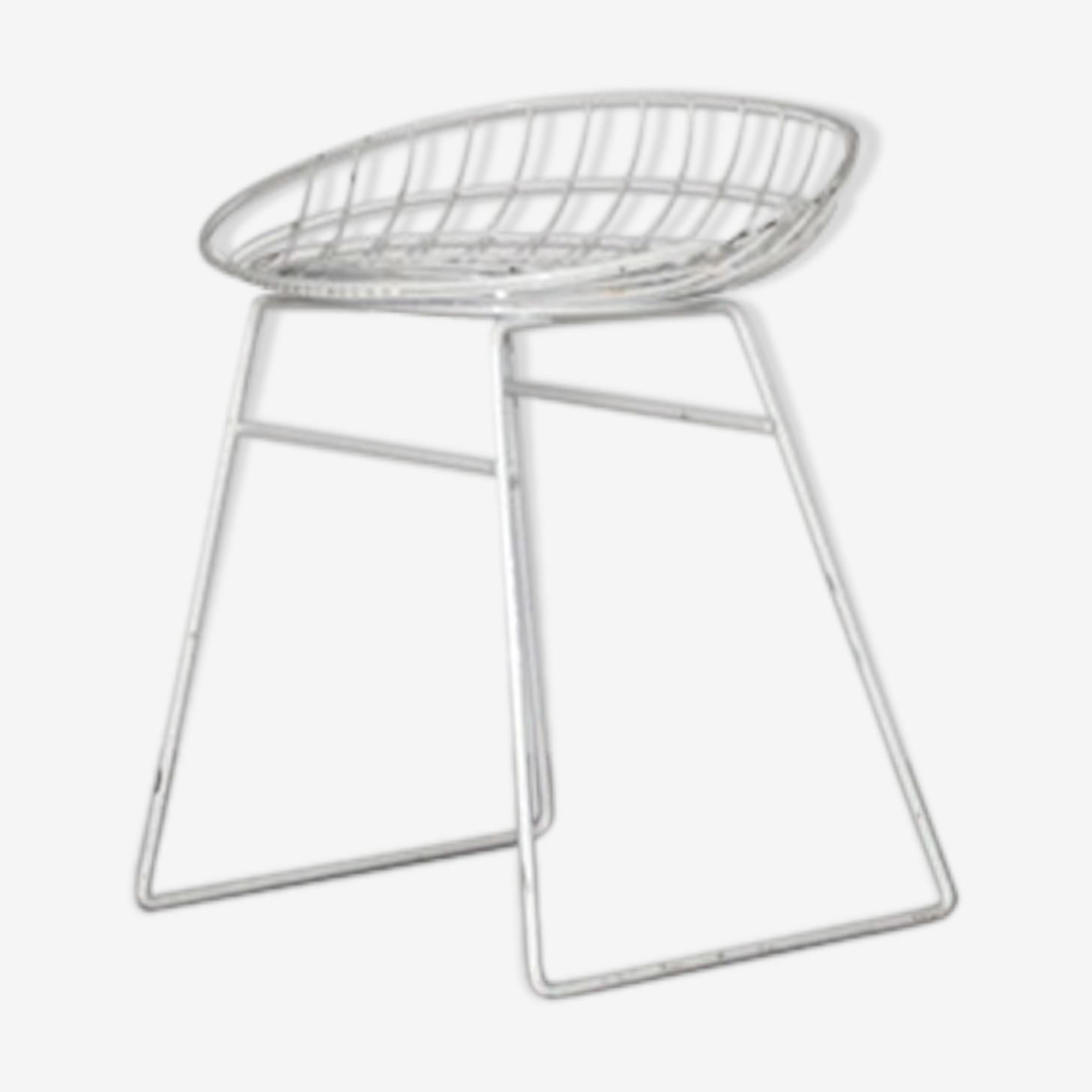 """Tabouret  blanc  Cees Braakman pour  Pastoe """"KM05"""" Dutch design  1953"""