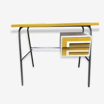 Bureau vintage jaune et blanc