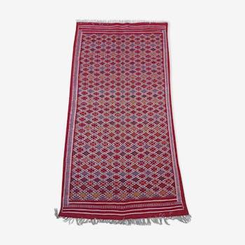 Red Berber carpet Handmade wool 105x205cm