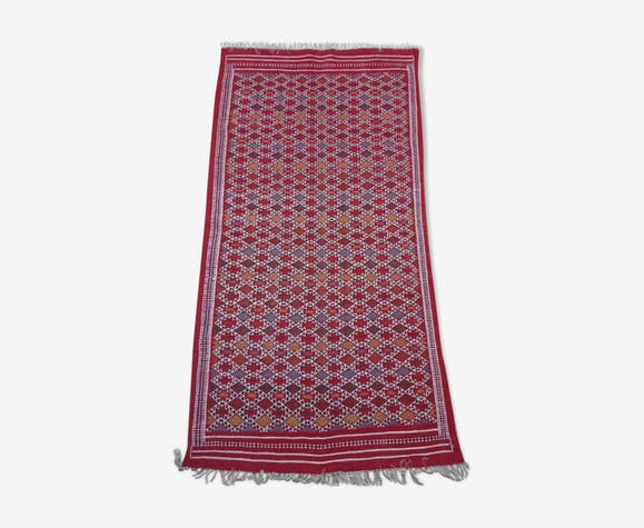 Tapis berbère rouge fait à la main en pure laine 105x205cm