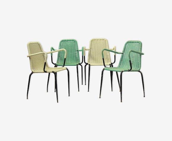 Chaises vintage tissé plastique jardin des années 1950 ...