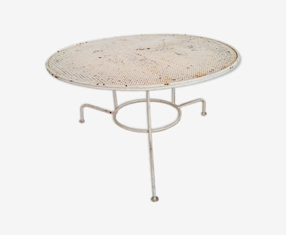 Table basse de jardin tripode métallique vintage - métal - blanc ...