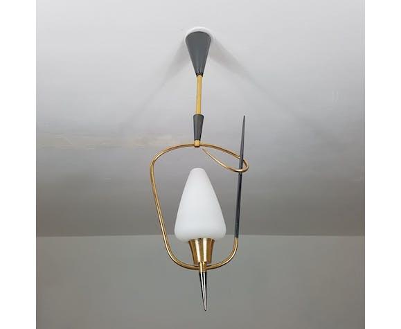 Suspension épingle chrome noir et or, 1950 | Selency