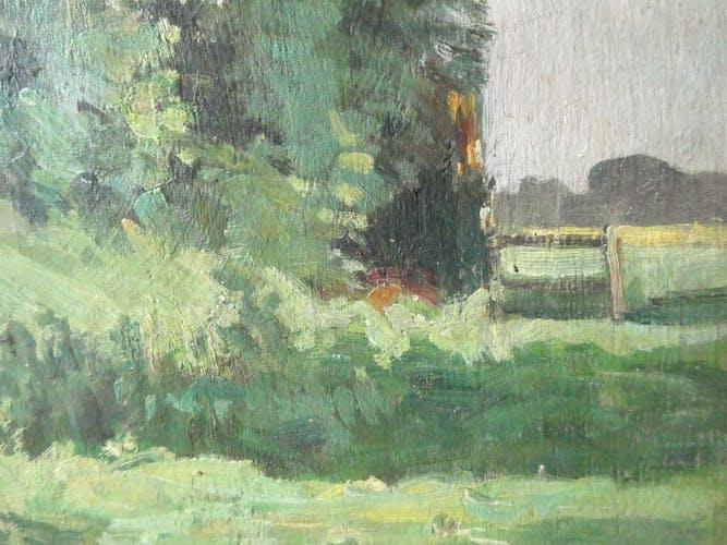 Tableau, huile sur panneau, paysage, arbres, début XXème
