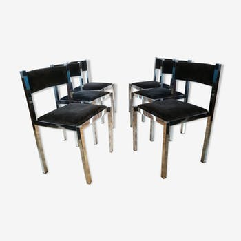 set of 6 chrome chairs and fabric design Roche Bobois