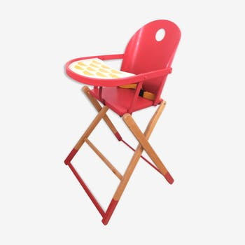 Chaise haute bébé vintage revisitée