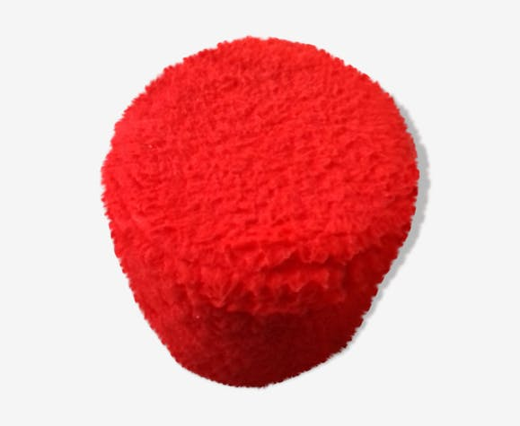 Pouf coffre de rangement moumoute rouge vintage 1972 fausse fourure