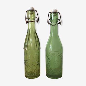 2 bistrot bottles  glass porcelain