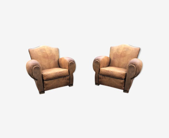 Set of Art Deco leather club armchairs -1930