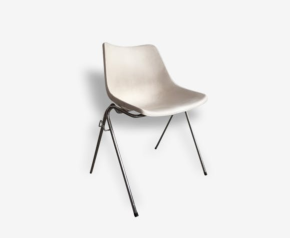 Chaise blanche vintage - plastique - blanc - vintage - 11571