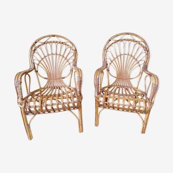 Paire de fauteuils en rotin - 1970