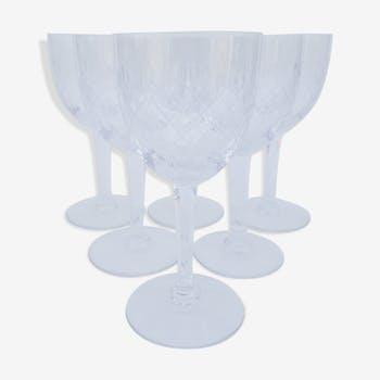 6 crystal water glasses circa 1970