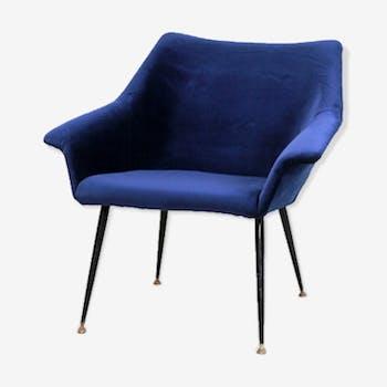 Dark blue velvet Italian design easy chair