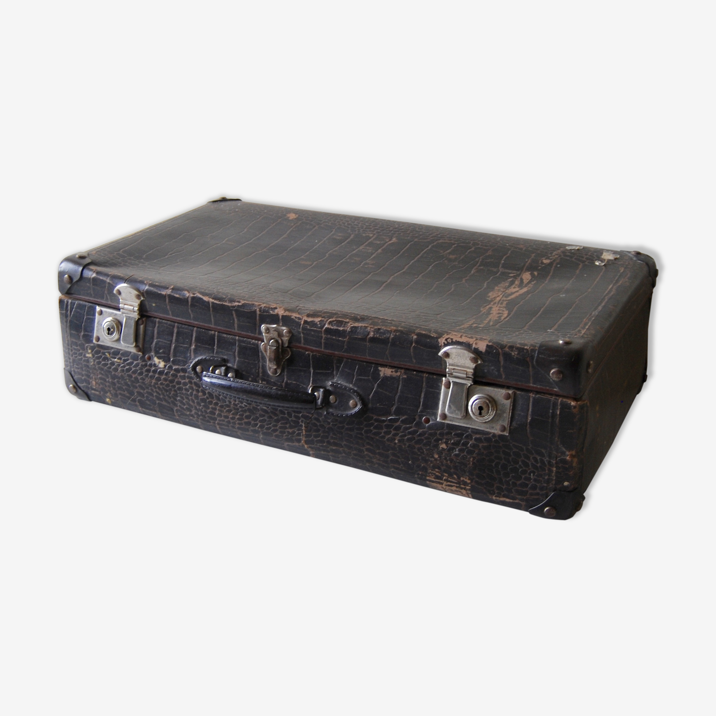 Valise vintage croco marron