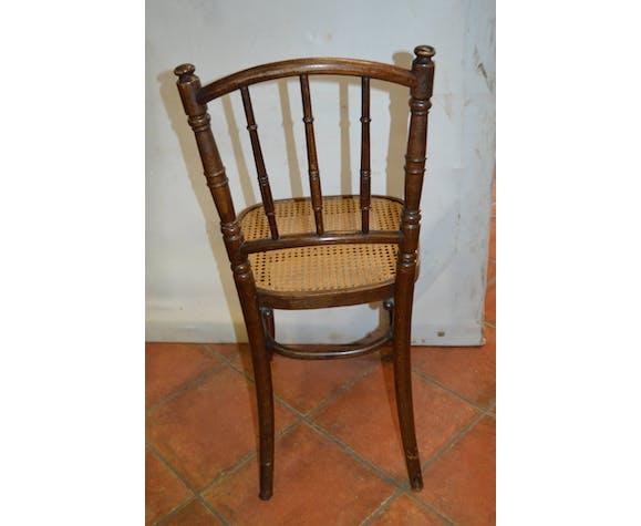 Lot de 5 chaises de bistrot cannées