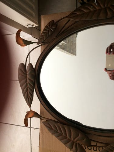 Oval mirror around wrought iron in the shape of flowers and foliage. black 69x55cm
