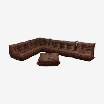 """All of salon """"Togo"""" vintage brown leather by Michel Ducaroy for line Roset, 1970 s"""
