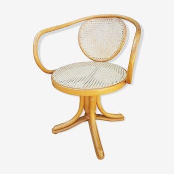 Fauteuil de bureau bois courbé et rotin design Thonnet ZPM Radomsko