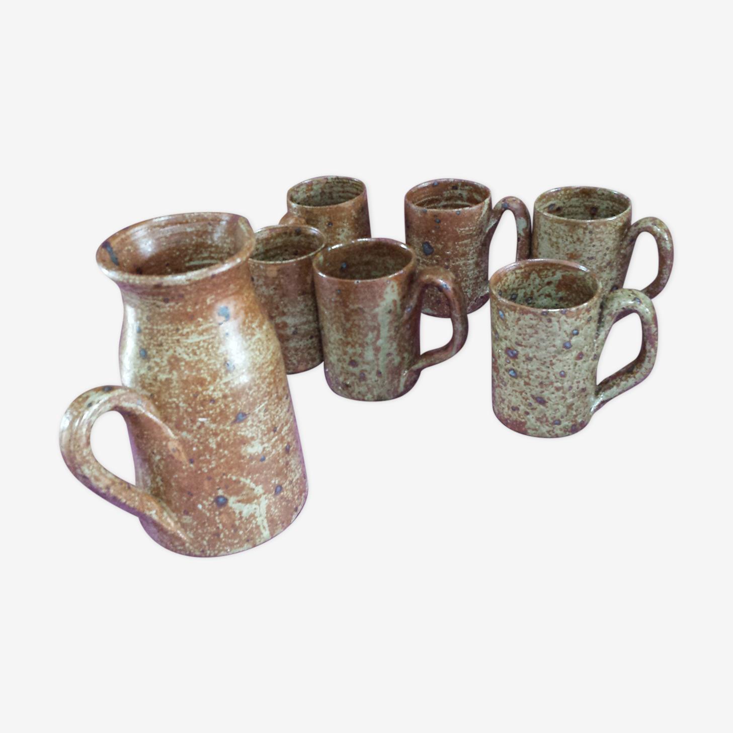 Mugs-mugs and pitcher gross stoneware  1980