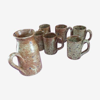 Mugs-mugs and pitcher gross stoneware  1980