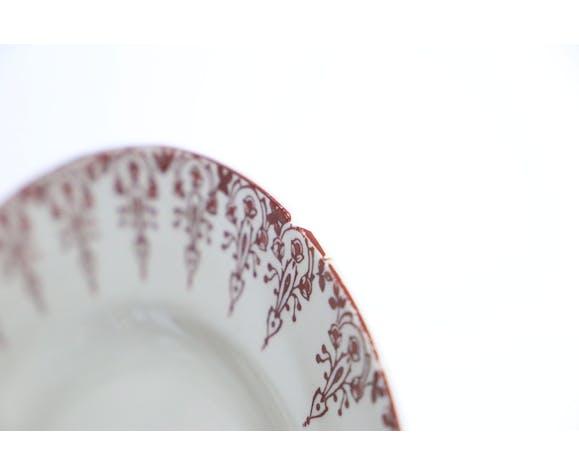 6 assiettes plates, terre de fer rouge