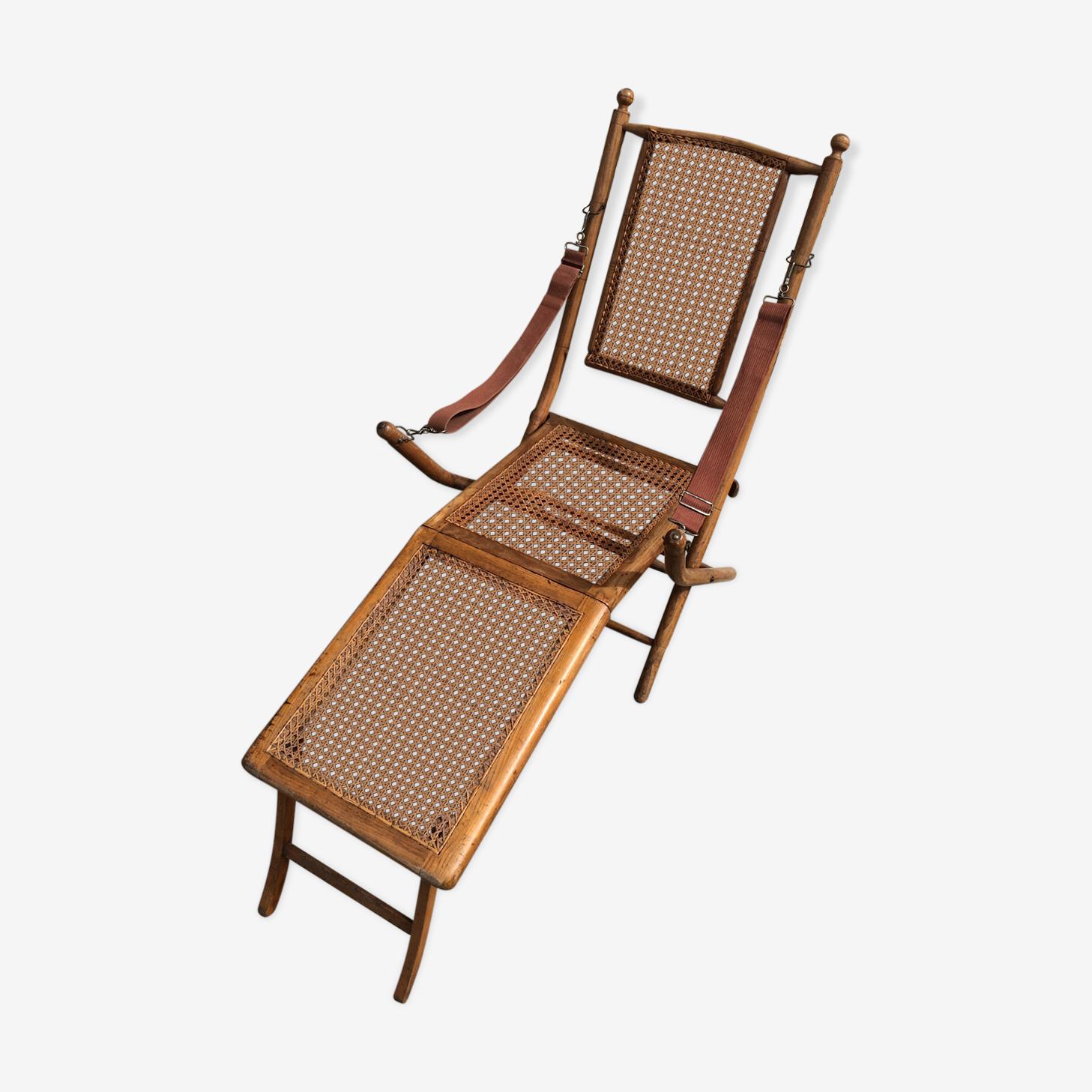 Chaise longue bois & cannage